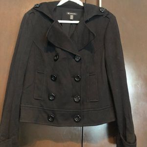 INC International Concepts Jackets & Coats - Black fashion peacoat with stretch